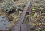 Photograph of rotten and broken planks on a hiking trail in Kauai, HI