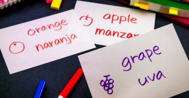 Photograph with three small cards carrying one Spanish word and its English translation each