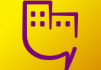 GoGlobalBeHappy logo modified as pictogram that shows building of a city
