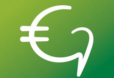GoGlobalBeHappy logo modified as pictogram showing a Euro symbol